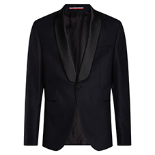 BLACK SATEEN COLLAR BLAZER